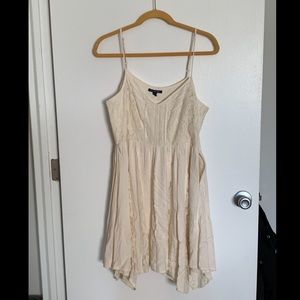 AEO cream dress with lace inserts